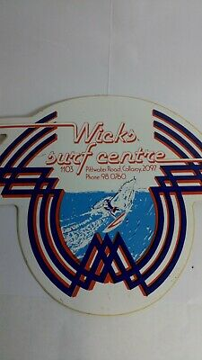 """WICKS SURF SHOP COLLAROY"" RETRO STICKER 1980s SURFBOARD SURFING"