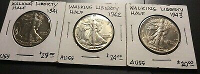 1941-P, 1942-P, 1943-P Walking Liberty Half Dollars, All Choice AU+