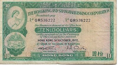 Hong Kong & Shanghai Banking Corporation $10 - 31st October 1972