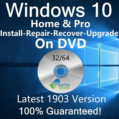 Windows 10 Home/Pro Upgrade Install Repair Restore Recovery DVD 32-Bit 64-Bit