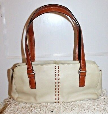 Vintage Fossil Cream Two Tone Mid Size Pebbled Leather Tote Handbag