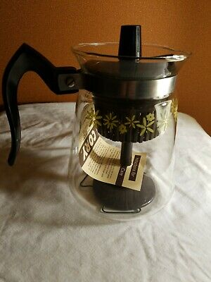 Vintage Cory Glass Coffee Pot Percolator Stovetop 5 Cup Floral VGC New