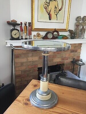 Art Deco Smokers Stand Chrome Bakelite And Mirror