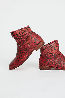 12afbaff8 Free People Red Alamosa Slouchy Leather Cuffed Studded Ankle Boot Eu 37 Us 7