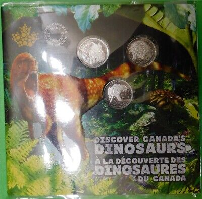 2019 Canada Three Dinosaurs Quarters Sealed in Collector Card