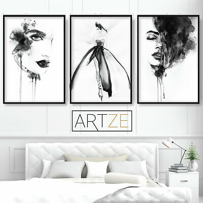Set of 3 Prints from Watercolour Illustrations Woman Face Fashion Wall Art
