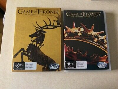 Game Of Thrones Season 2 The Complete Second Season 5 Disc DVD Set Slip Cover