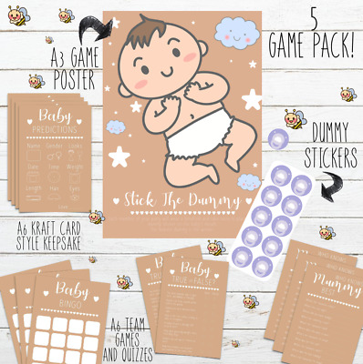 Baby Shower Games - Multi Listing - Kraft - Bingo Trivia Quiz Predictions Invite