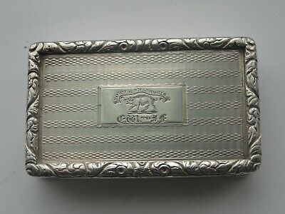 Exquisite Antique George Iv, English Sterling Silver Snuff Box, Fortis In Arduis