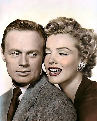 "RICHARD WIDMARK MARILYN MONROE 1952 ACTORS 8x10"" HAND COLOR TINTED PHOTOGRAPH"