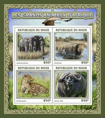 Niger 2016 Sheet Mnh Big African Animals Elephants Buffaloes Wild Cats Feline 6