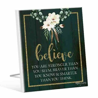 French Country Vintage Wooden BOHO LUXE BELIEVE YOU ARE STRONGER Sign New