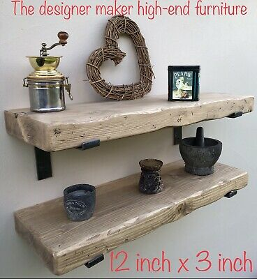 """Large Rustic wooden Floating Shelf dinner plate Tv Sky Box 12"""" x 3"""" extra deep"""