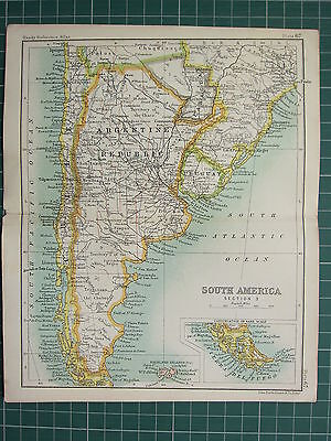 1904 Small Map ~ Southern South America ~ Argentine Republic Chile Falkland