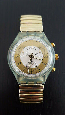 Top Swatch Chrono Golden Globe Scg100 Damen / Herren 1992 Armbanduhr Uhr