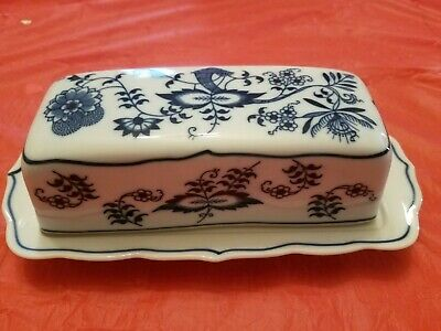 Vintage BLUE DANUBE Onion Pattern Covered BUTTER DISH Japan (Discontinued)