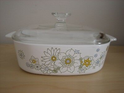 Corning Ware Daisy Floral Bouquet A 2 B Square 2 Quart Casserole With Pyrex Lid