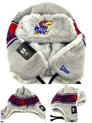 huge selection of be235 49f3a Kansas Jayhawks New Era Knit Beanie Trapper Dogheads Toque Gray Red Blue Hat  Cap