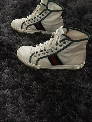 cbbe39b678d Mens Gucci Ace Sneakers Trainers Uk 9 White Green Navy Red Ankle High