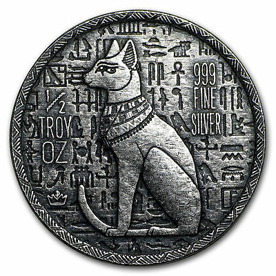 1/2 Ounce .999 Fine Silver Round Hand Poured Relic Egyptian Cat Goddess-Bastet