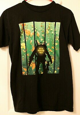 Pre-Owned, Bioshock Big Daddy Little Sister Video Game Black Sm Teefury T-shirt