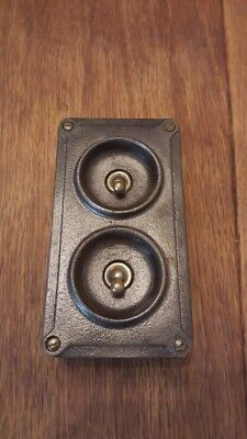Crabtree Vintage Industrial Light Switch Twin 2 Gang Salvaged Reclaimed Retro MK