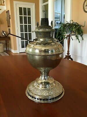 Antique Bradley & Hubbard Nickel Plated Brass Kerosene Oil Table Lamp ca. 1900