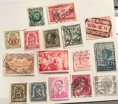 Belgium postage stamps lot of 18 old.             F