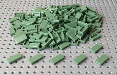 pack of 20 NEW 1x2 Flat Tile in rare Sand Green Lego 3069 // 3069b city