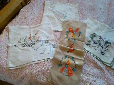 Vintage Crinoline Lady Tablecloths & Runner Hand Embroidered