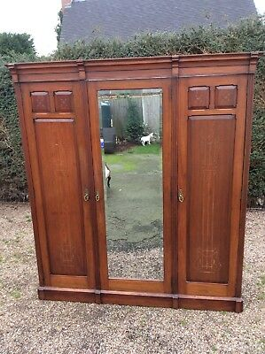 Wardrobe Antique Compactum Linen Press Treble Door Mahogany Rosewood Gold Relief