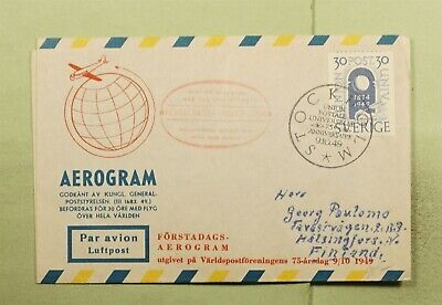 DR WHO 1949 SWEDEN FIRST FLIGHT STOCKHOLM TO TO HELSINKI FINLAND  e02909