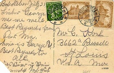 1922 Bad Steben Germany Inflation Cover to St Louis MO USA on postcard