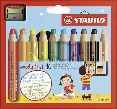 Buntstift, Wasserfarbe & Wachsmalkreide - STABILO woody 3 in 1 - 10er Pack mit