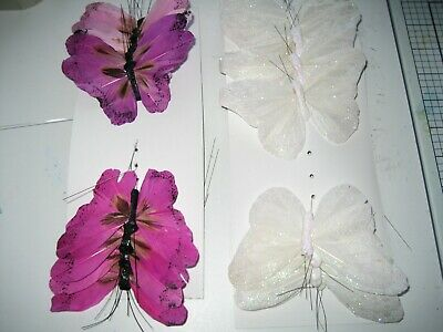 Purple Feather And White Glitter Butterflies