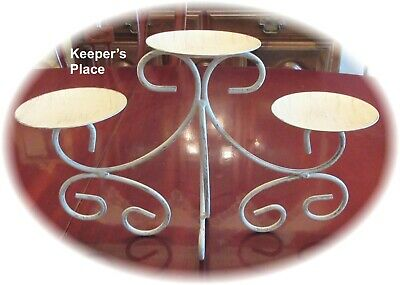 Shabby Farmhouse Style Triple Candle Holder Wrought Iron New No Tags