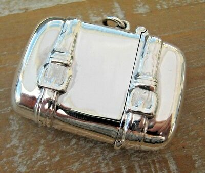 Birmingham Hallmarked Sterling Silver Suitcase Travelling Vesta Case Match Safe