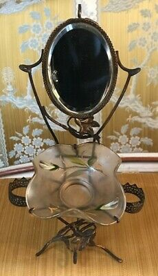 Antique French Art Nouveau Painted Glass Ring Tray / Mirror / Watch Holder
