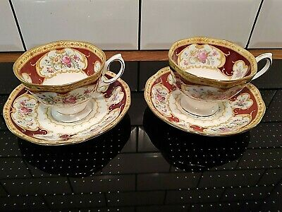 Royal Albert Lady Hamilton Tea Cups & Saucers x 2 ~ 1st Quality