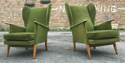 Vintage Retro Mid Century Wingback Armchairs Matching Pair
