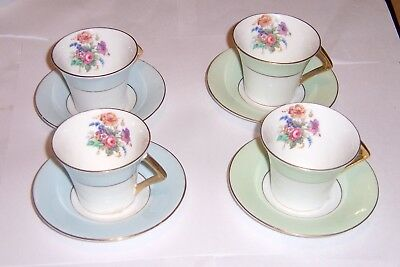 Colclough Bone China  Set of 4 Demitasse Cups & Saucers- 2 Blue - 2 Green