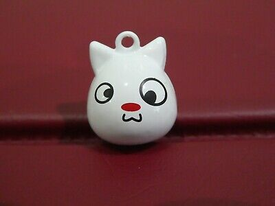 Cat Collar Large Bell Charm White Cat Face, Loud Bell