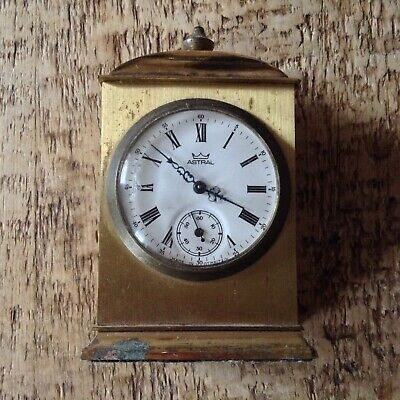 Vintage Smiths Astral solid Brass wind up clock with second hand dial face...