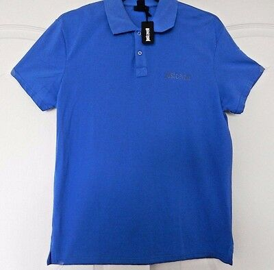 25b8807480 New Men's Authentic Just Cavalli Signature Beachwear Polo Shirt Blue Medium