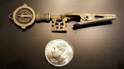 Interesting Gothic 2 sided - Old-Time Brass Key Roach Clip - Antiqued