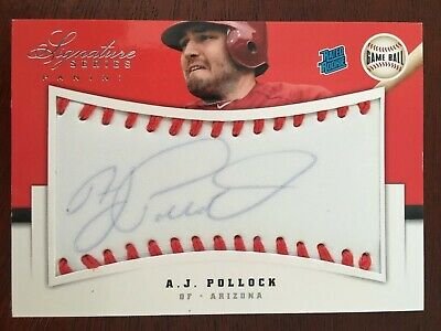 2012 Panini Signature Series #101 A.J. Pollock GAME BALL ROOKIE AUTO /299