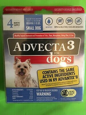 Advecta 3 for Dogs, 4 Months Supply, Small Dog Weighing 5 - 10 Lbs