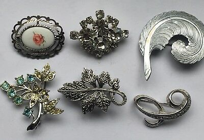 Ladies Jewellery Job Lot 6xSilver Brooches One With Light Blue Topaz & C.Z.