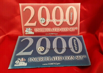2000 P & D U.S. Mint Set Uncirculated 20 Coin Set In Original Envelope With COA