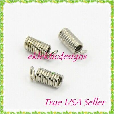 100pc Antique Silver Plated Cord Ends Coils Cap 8.5x3mm Crimps Necklace Findings